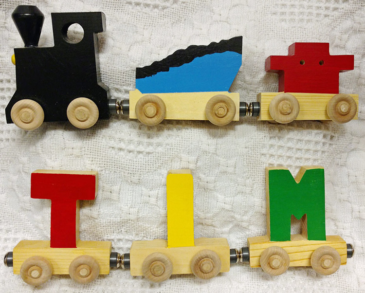 magnetic name train cars-v-blue